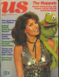 Raquel Welch and Kermit the frog on cover of US