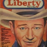 John Wayne Illustration art on cover of Liberty magazine
